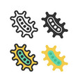 bacteria microbe virus outline icon set vector image