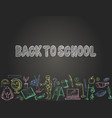 banner back to school with school supplies vector image