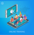 banner on theme online training vector image vector image