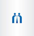 blue letter m people business icon vector image