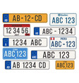 car license plate eu countries number plates vector image