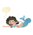 cartoon mermaid covered in tattoos with speech vector image vector image