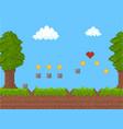 Cartoon pixel art nature scene background card