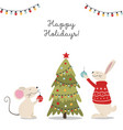 christmas card with animals vector image vector image