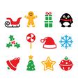 Christmas icons set - Santa xmas tree present vector image vector image