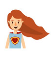 colorful caricature half body super hero woman vector image