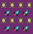 colorful pattern of spatial ships and rockets game vector image vector image