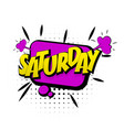 Comic purple effects pop art saturday week end vector image vector image