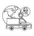 customer support logistics service cartoon vector image