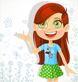 Cute girl of school-age tells the story vector image