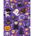 Cute Halloween seamless pattern with cartoon vector image