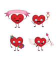 cute heart mascot collection vector image vector image