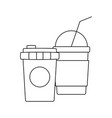 delicious milkshake with coffee container plastic vector image vector image