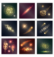 different color lighting effects nine shiny icons vector image vector image