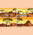 four scenes with many animals in field vector image vector image