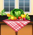 Fresh vegetables on the table vector image vector image
