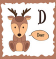 Funny cartoon animals d letter cute alphabet for