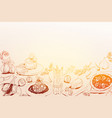 hand drawn background with mediterranean food vector image vector image