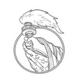hand holding statue of liberty torch drawing vector image vector image