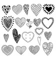 heart doodles valentine day symbols sketch love vector image