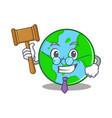 judge world globe character cartoon vector image