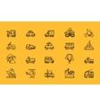 kinds transport set black outline icons vector image