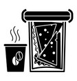 lunch box and hot coffee icon simple style vector image