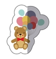 middle shadow sticker colorful with teddy bear and vector image