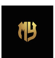 my logo monogram with gold colors and shield vector image vector image