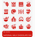 national milk chocolate day icon set vector image