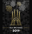 new year 2019 spain sagrada familia travel gold vector image
