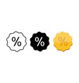percentage icon flat in modern white black and vector image vector image
