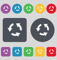 Refresh icon sign A set of 12 colored buttons Flat vector image