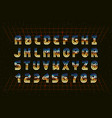 retro chrome font in style 80s vector image vector image
