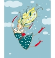 Romantic Flying Beautiful Girl Cartoon vector image