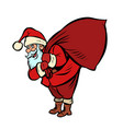 santa claus with a bag gifts christmas and new vector image
