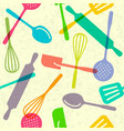 seamless pattern utensils kitchen background vector image