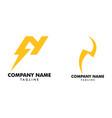 set letter n thunder bolt design logo vector image vector image