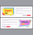super special offer promotion on internet page vector image vector image