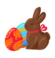 sweet chocolate bunny and two multicolored eggs vector image vector image