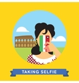 Take a photo selfie in Rome Italy vector image