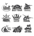 travel labels set with airplane vector image vector image