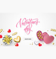 valentines day sale web banner for shopping of vector image vector image