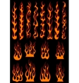 Various fiery flames in tribal style vector image vector image