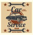 vintage car service logo - auto repair grunge vector image