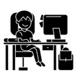 school girl on the table with computer book and vector image
