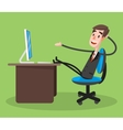 Businessman Smiling Using Computer vector image