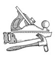 carpentry tools engraving style vector image