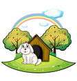 A puppy near an apple tree vector image vector image