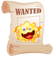 A wanted monster in a poster vector image vector image